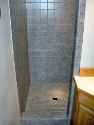 Granite shower with diamonds